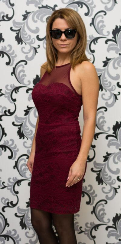 Дамска дантелена рокля - бордо 2