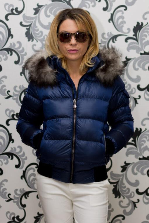Дамско късо зимно яке с лого - син цвят 2
