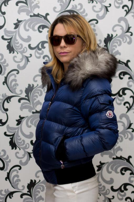 Дамско късо зимно яке с лого - син цвят 1