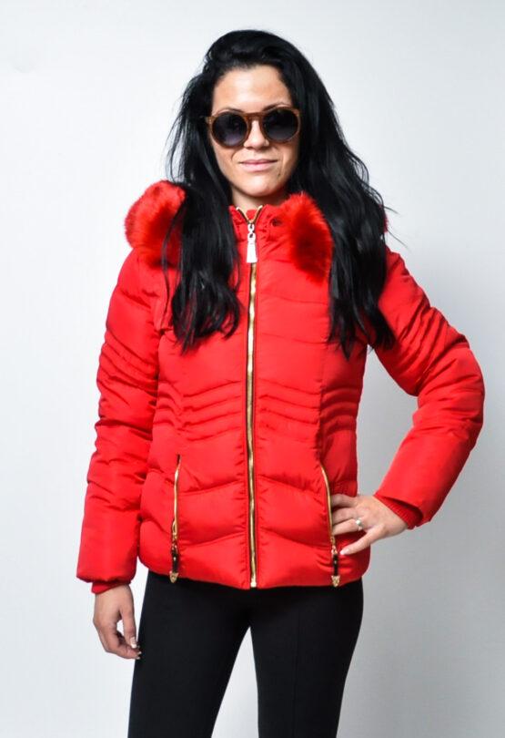 Дамско зимно яке-червено 2