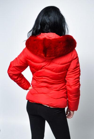 Дамско зимно яке-червено 3