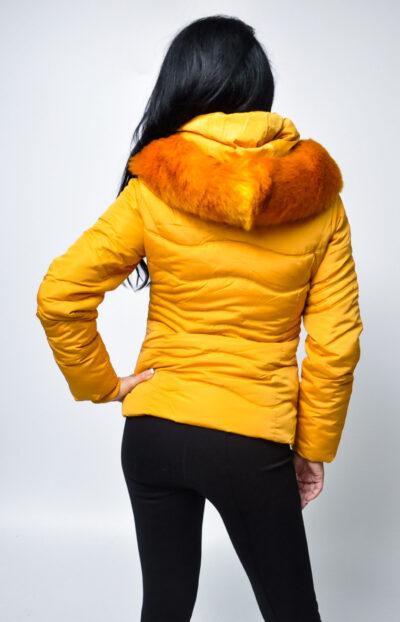 """Дамско зимно яке-цвят """"горчица"""" 3"""