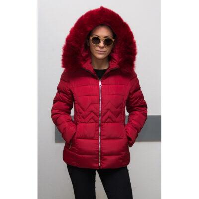 Червено дамско яке с качулка 1