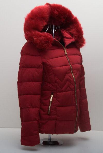 Червено дамско яке с качулка 5
