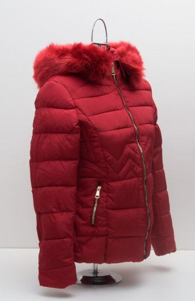Червено дамско яке с качулка 3