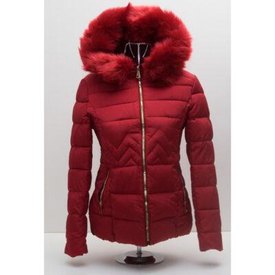 Червено дамско яке с качулка 6
