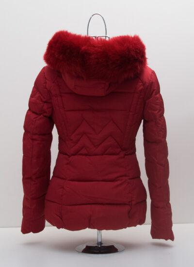 Червено дамско яке с качулка 2