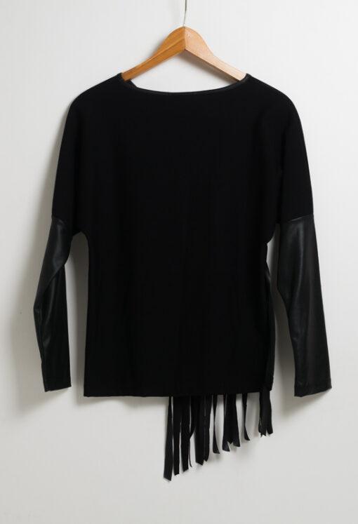 Черна блуза с ресни - дълъг ръкав 3