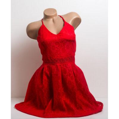 Червена дантелена рокля с презрамки 1
