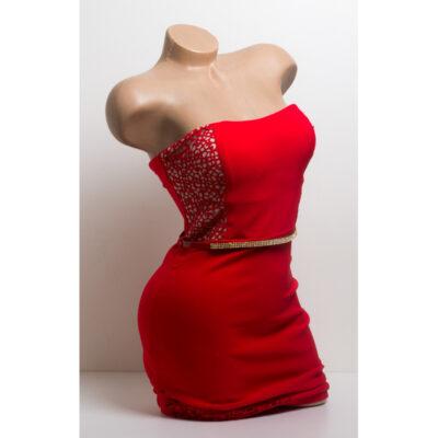 Права рокля с перфорация - червена 1