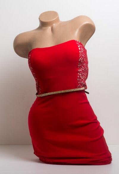 Права рокля с перфорация - червена 4