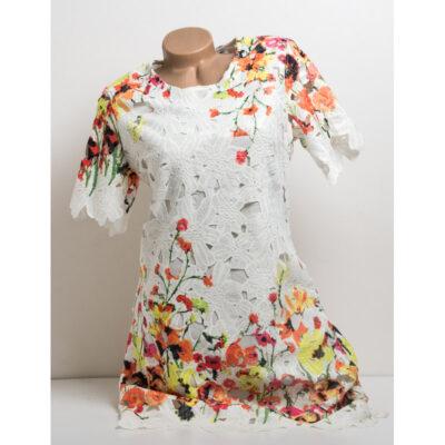 Дантелена рокля с цветя - бяла 1