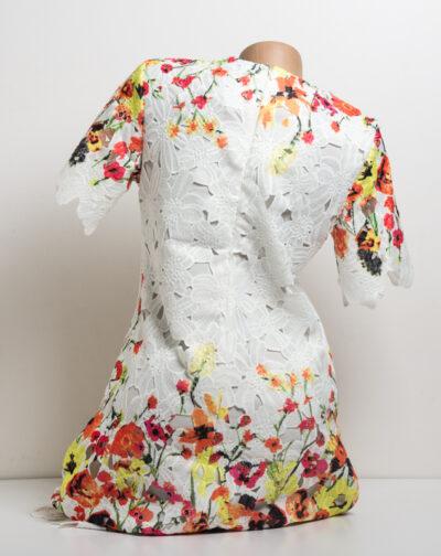 Дантелена рокля с цветя - бяла 2