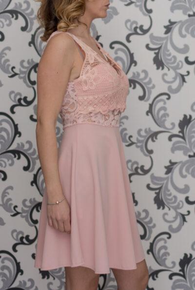 Розовз рокля с дантела