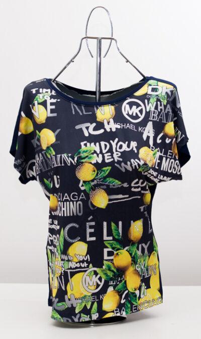 Блуза с лимони - тъмносиня 1