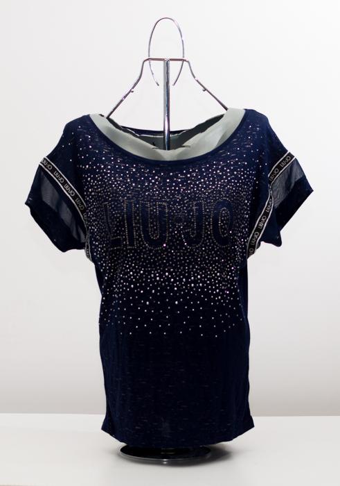 Блуза с камъни - тъмносиня 1
