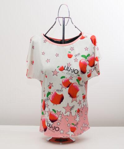 Блуза с ябълки - розова 1