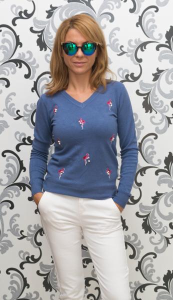 Дамска плетена блуза с фламинго-синя 1