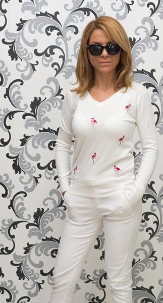 Дамска плетена блуза с фламинго-бяла 3