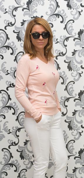 Дамска плетена блуза с фламинго-розова 2
