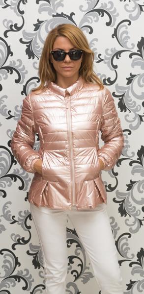 Дамско тънко лъскаво яке - розово злато 1