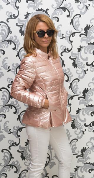 Дамско тънко лъскаво яке - розово злато 2