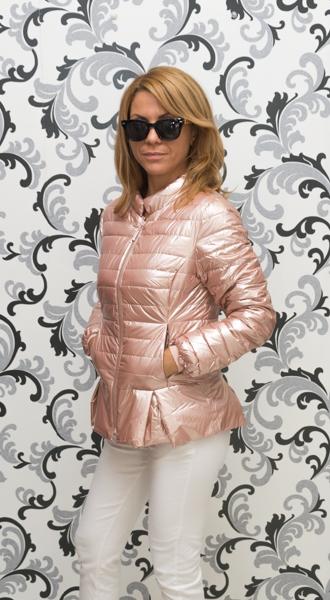 Дамско тънко лъскаво яке - розово злато 3