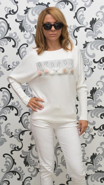Дамска плетена блуза със зайци - бяла 1