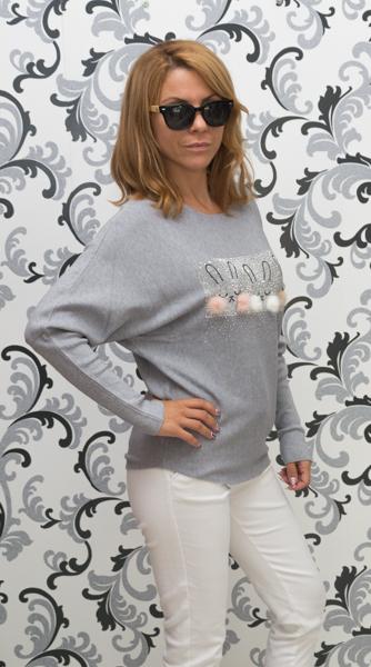 Дамска плетена блуза със зайци - сива 3