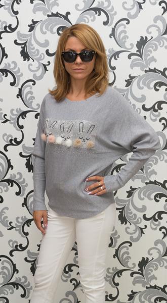 Дамска плетена блуза със зайци - сива 2