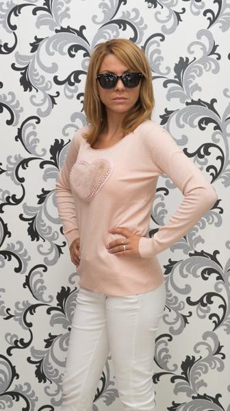 Дамска плетена блуза със сърце - розова 2