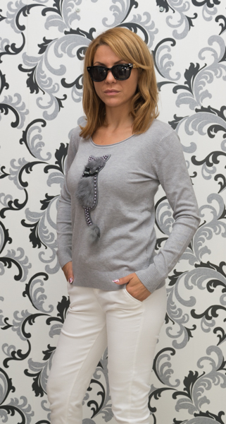 Дамска плетена блуза с коте - сив цвят 3