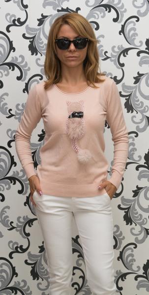 Дамска плетена блуза с коте - розов цвят 1