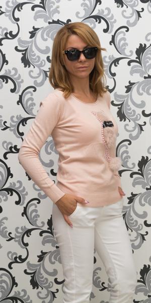 Дамска плетена блуза с коте - розов цвят 2
