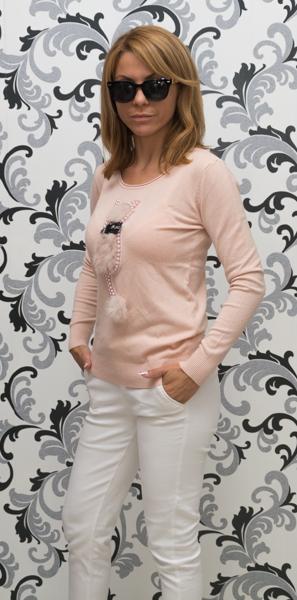 Дамска плетена блуза с коте - розов цвят 3