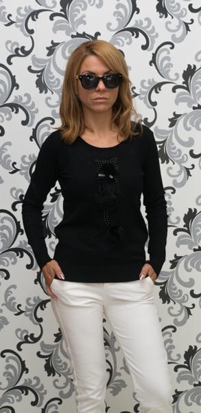 Дамска плетена блуза с коте - черен цвят 1