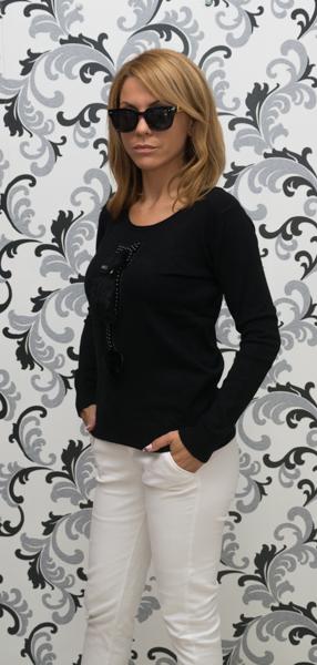 Дамска плетена блуза с коте - черен цвят 3