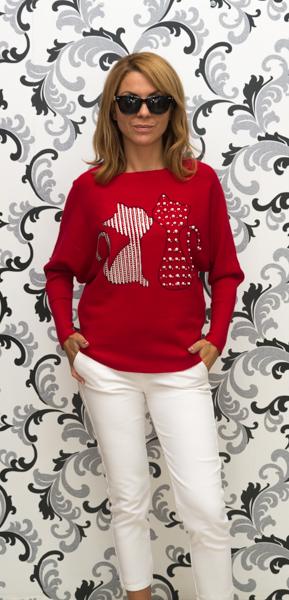 Дамска плетена блуза с котки - червена 4