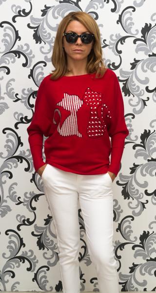 Дамска плетена блуза с котки - червена 1