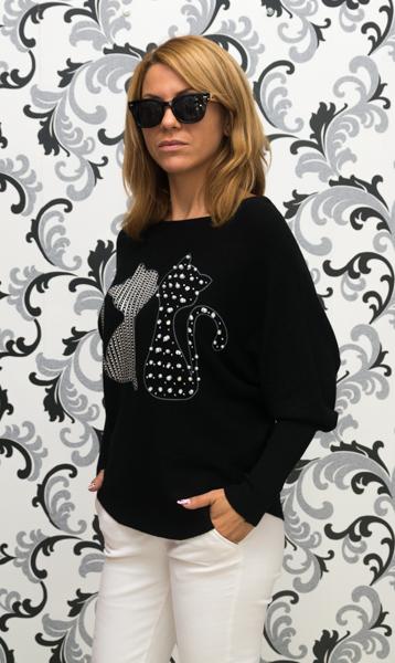 Дамска плетена блуза с котки - черна 2