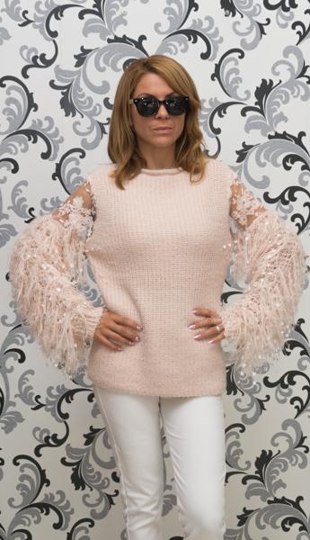 Дамска вълнена блуза с декориран ръкав - розова 1