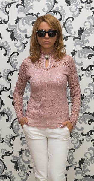 Дамска дантелена блуза с брошка - розова 1