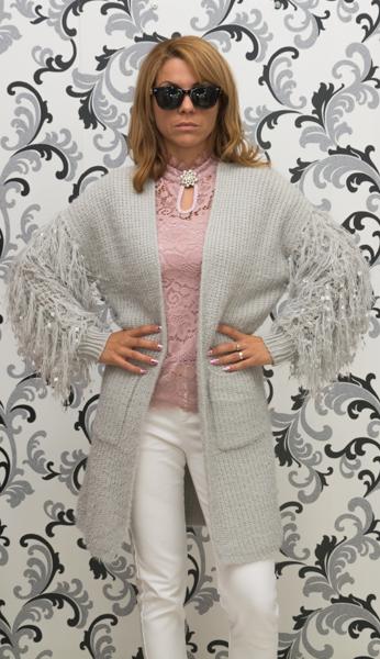 Дамска вълнена луксозна жилетка - сива 1