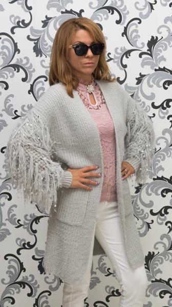 Дамска вълнена луксозна жилетка - сива 2
