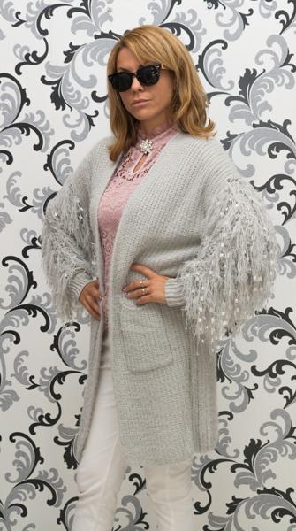 Дамска вълнена луксозна жилетка - сива 3