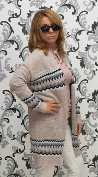Дамска дълга жилетка с джобове - розова 2