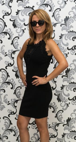 Дамска плетена рокля без ръкав - черна 2
