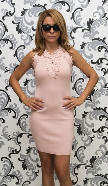 Дамска плетена рокля без ръкав - розова 1