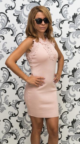 Дамска плетена рокля без ръкав - розова 3