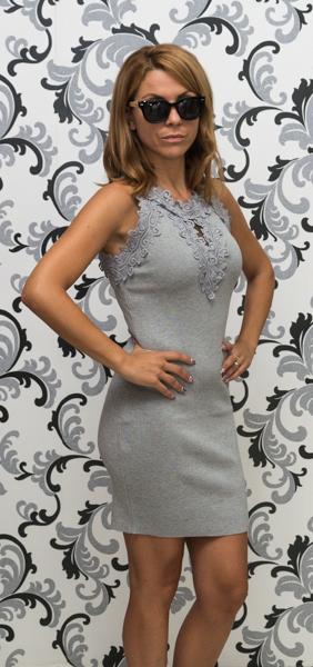 Дамска плетена рокля без ръкав - сива 3